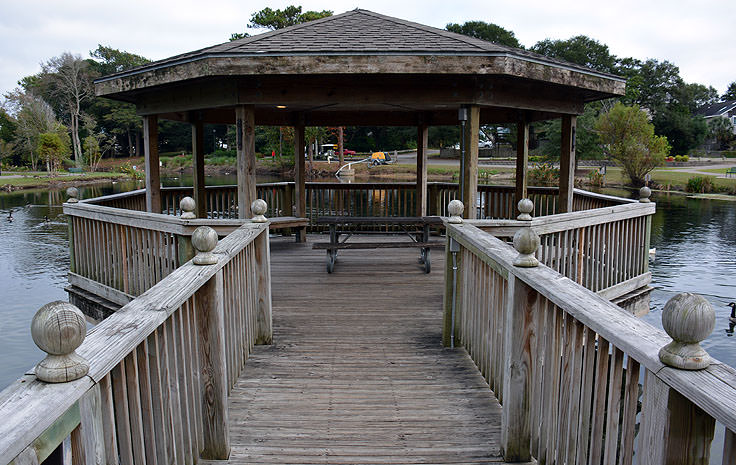 A gazebo over the pond at Mclean Park in Myrtle Beach, SC